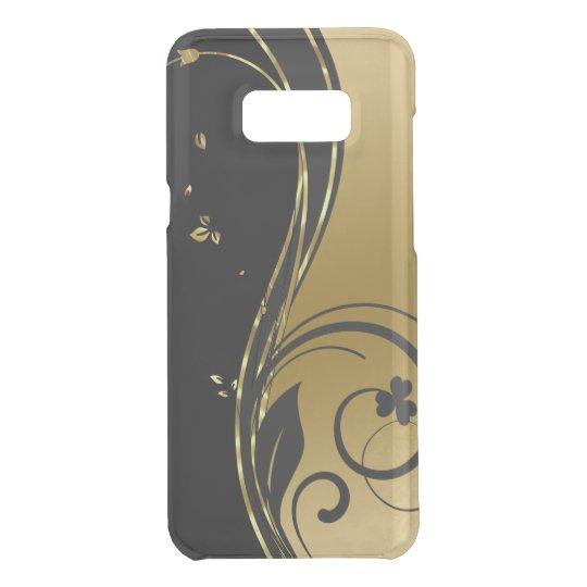 Diseño floral de los remolinos del oro negro y