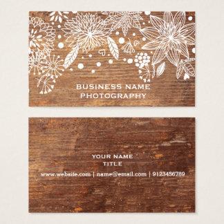 diseño floral de madera rústico de la tarjeta de