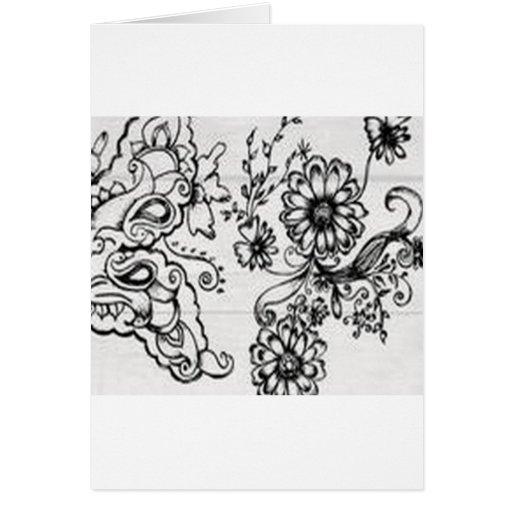 Diseño floral decorativo tarjeton