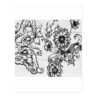 Diseño floral decorativo postales