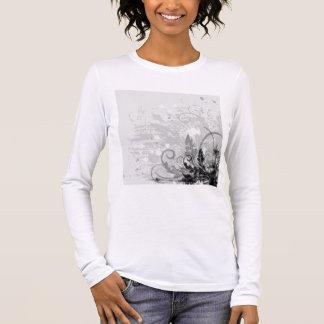 Diseño floral del Grunge - B&W gris claro Camiseta De Manga Larga