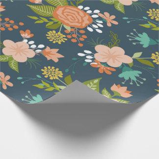 Diseño floral del jardín del azul y del melocotón papel de regalo