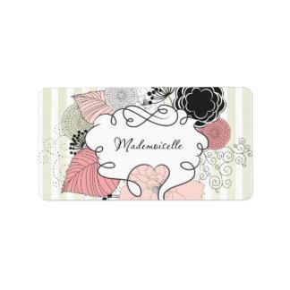 Diseño floral del Mademoiselle Etiqueta De Dirección