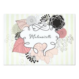 Diseño floral del Mademoiselle Invitación 12,7 X 17,8 Cm