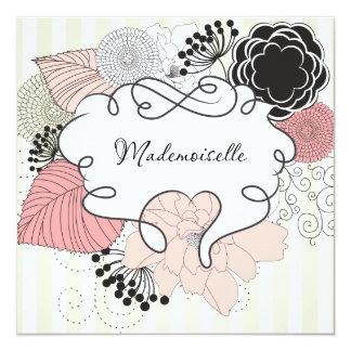 Diseño floral del Mademoiselle Invitación 13,3 Cm X 13,3cm