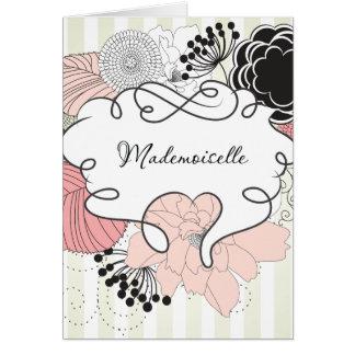 Diseño floral del Mademoiselle Tarjeta De Felicitación