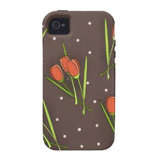 Diseño floral del tulipán vibe iPhone 4 carcasa