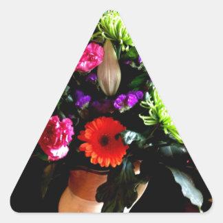 diseño floral, fotografía original pegatina triangular