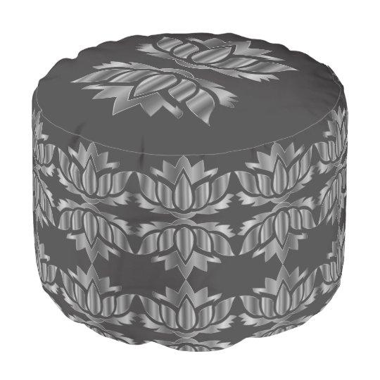 Diseño floral gris y de plata de Lotus Pouf