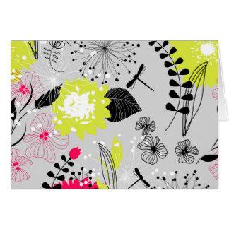 Diseño floral retro en rosa y amarillo tarjeta de felicitación