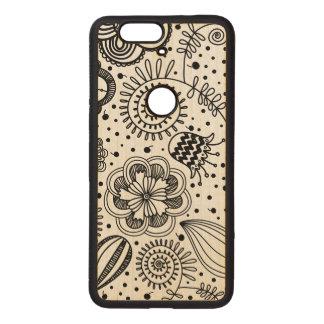 Diseño floral retro negro usted cambia el fondo fundas de madera para nexus s6p