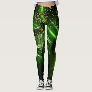 Diseño floral verde eléctrico leggings
