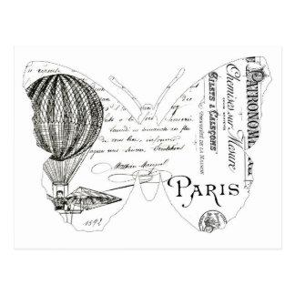 Diseño francés de París de la mariposa de la Postal