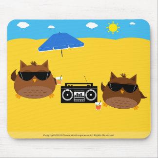 Diseño fresco de los búhos de la playa - Mousepad Alfombrilla De Ratón