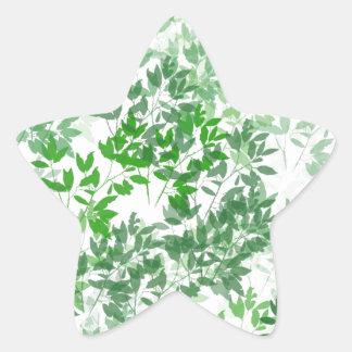 Diseño frondoso del modelo pegatina en forma de estrella