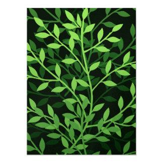 Diseño frondoso elegante verde de las ramas comunicado personal