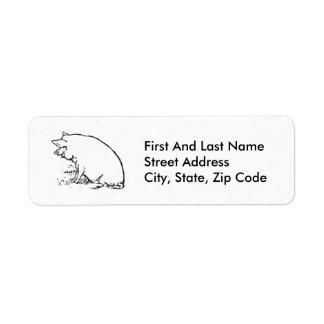 Diseño gallardo del bosquejo del cerdo etiqueta de remite