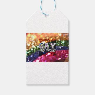Diseño gay y orgulloso del arco iris etiquetas para regalos