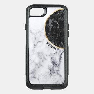 Diseño geométrico de mármol blanco y negro funda commuter de OtterBox para iPhone 8/7