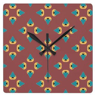 Diseño geométrico del árbol de la diversión reloj cuadrado