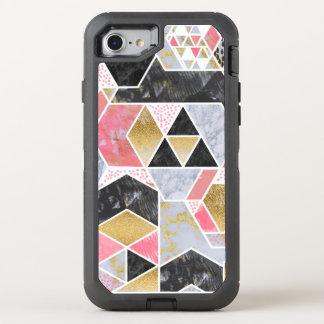 Diseño geométrico del falso del oro mármol bonito funda OtterBox defender para iPhone 8/7