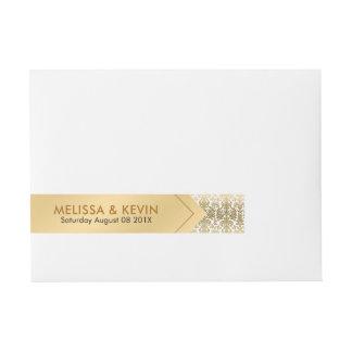 Diseño geométrico del oro y de los damascos etiquetas postales