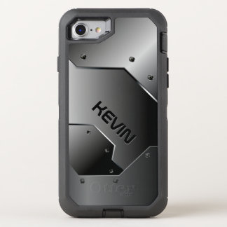 Diseño geométrico gris metálico masculino fresco funda OtterBox defender para iPhone 8/7