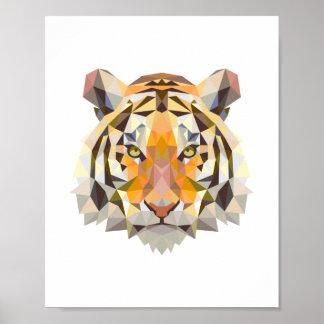 Diseño geométrico nórdico del tigre póster