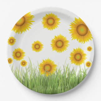 Diseño gráfico del girasol brillante y elegante plato de papel
