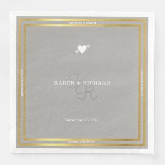 diseño gris del boda en blanco elegante servilletas de papel