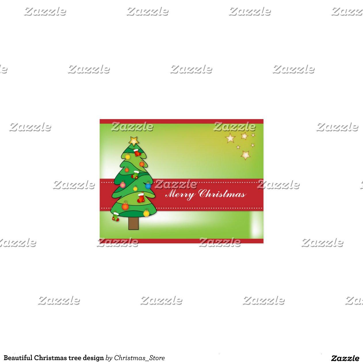 Dise o hermoso del rbol de navidad postal zazzle - Arbol de navidad diseno ...