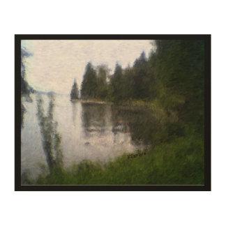 Diseño hermoso del lago: foto digital alterada impresión en madera