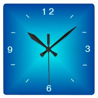 Diseño iluminado aguamarina azul > reloj de pared
