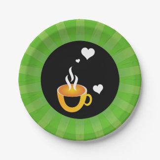 Diseño impresionante estupendo del amor del café plato de papel