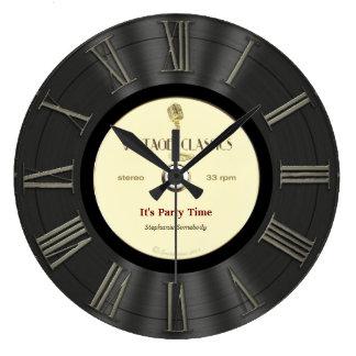 Diseño impreso disco de vinilo retro reloj redondo grande