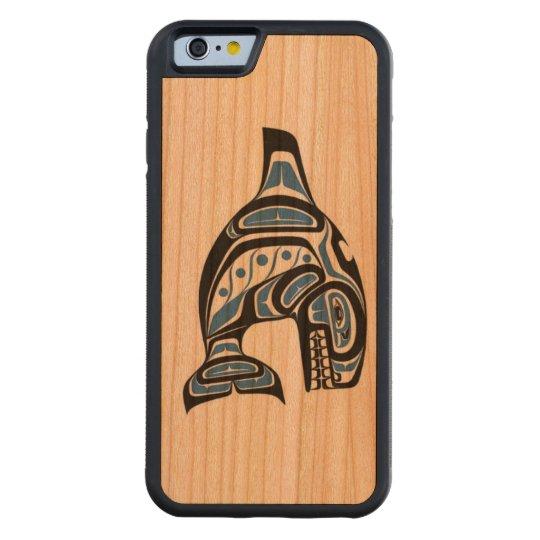 Diseño indio de la orca del Haida Funda Protectora De Cerezo Para iPhone 6 De Carved