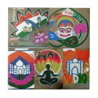 Diseño indio étnico azulejo cuadrado pequeño