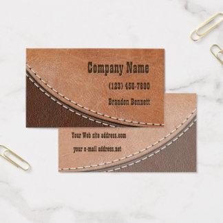 Diseño interior de cuero cosido tarjeta de visita
