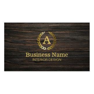 Diseño interior de madera oscuro del monograma del tarjetas de visita