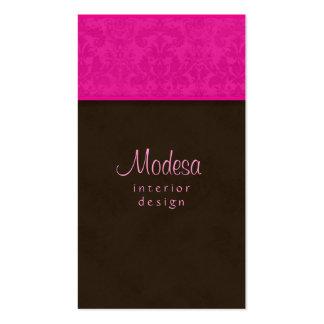 Diseño interior rosado de la tarjeta de visita del