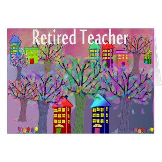 Diseño jubilado de la ESCENA del PUEBLO del profes Felicitaciones
