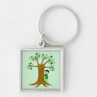 Diseño lindo de Hugger del árbol Llavero Cuadrado Plateado
