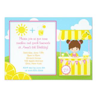 Diseño lindo de la limonada con el chica invitación 12,7 x 17,8 cm