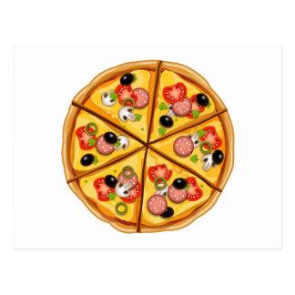Diseño lindo de la pizza postal