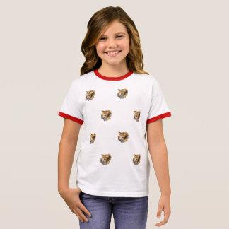 Diseño lindo de las caras de mucho gato rojo camiseta ringer
