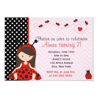 Diseño lindo del chica de la mariquita de la invitación 12,7 x 17,8 cm