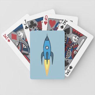 Diseño lindo retro azul del dibujo animado de baraja de cartas bicycle