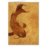 Diseño llevado vintage de los pescados de Koi Tarjeton