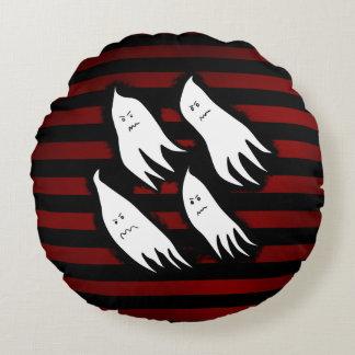 Diseño malvado del fantasma de Halloween Cojín Redondo