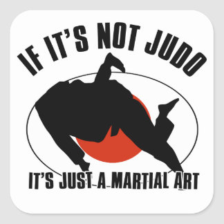 diseño marcial del judo calcomania cuadradas